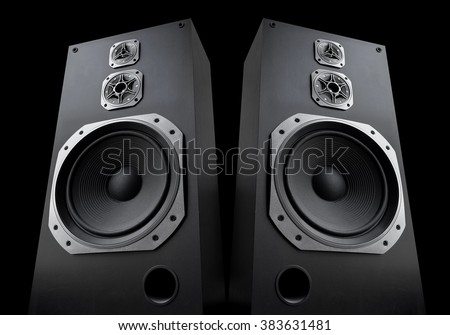 Audio speakers on black background