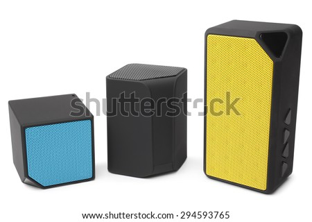 Audio speakers on white background - stock photo