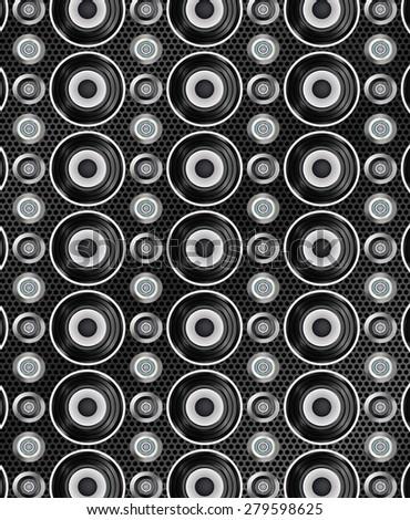 Audio speakers seamless pattern - stock photo