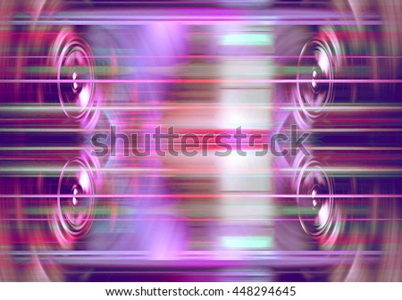 Audio speakers with blurred purple light streaks