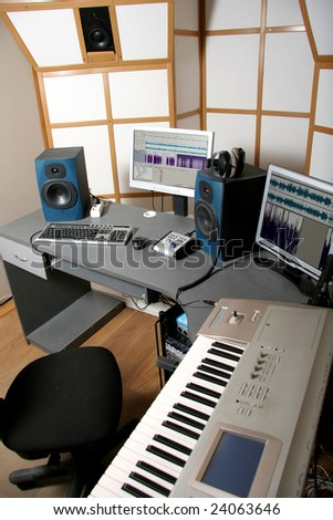 audio studio - stock photo