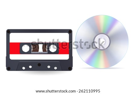 Audio tape cassette and a compact disc   isolated on white background. Raster version - stock photo