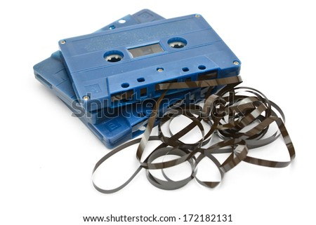 Audio Tape Cassette with subtracted out tape Isolated on white background