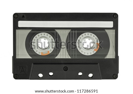 audio tape on pure white background - stock photo