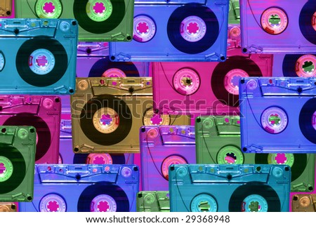 audio tape set of vintage records. disco style - stock photo