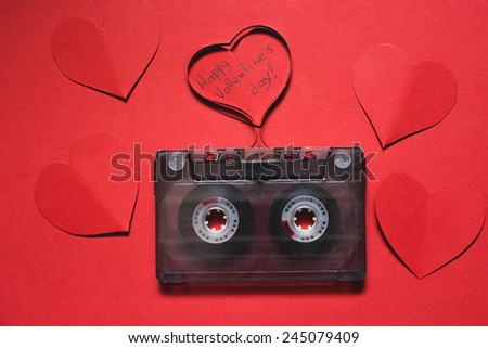 Audio tape with heart shape to Valentine's day