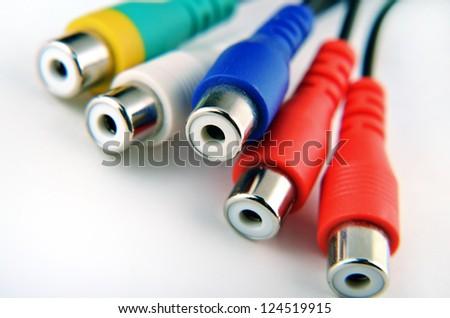 audio video composite jack - plugs - stock photo