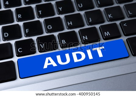 AUDIT a message on keyboard - stock photo