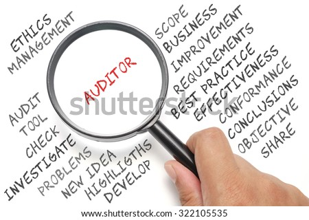 Audit, business conceptual focusing on Auditor - stock photo