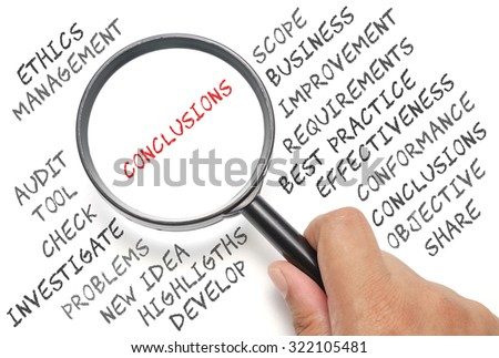 Audit, business conceptual focusing on Conclusions - stock photo