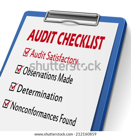 audit checklist clipboard with check boxes marked for related concepts - stock photo