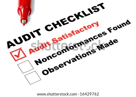 "Audit checklist, with tick against ""audit satisfactory"", - stock photo"