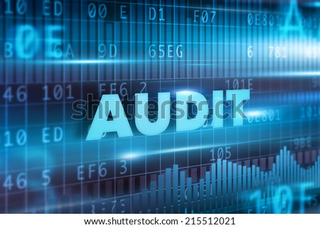 Audit concept with blue background blue text - stock photo