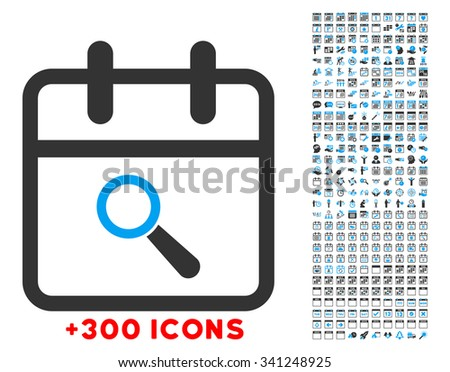 Audit Day glyph icon with additional 300 date and time management pictograms. Style is bicolor flat symbols, blue and gray colors, rounded angles, white background. - stock photo