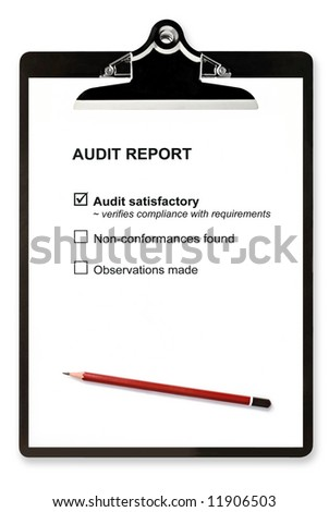 """Audit report and pencil on clipboard, with """"Audit satisfactory"""" checked.  Isolated on white.  Please see my gallery for similar. - stock photo"""