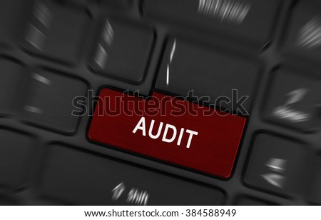 Audit text on red keyboard button - financial and business concept - stock photo
