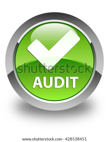 Audit (validate icon) glossy green round button - stock photo