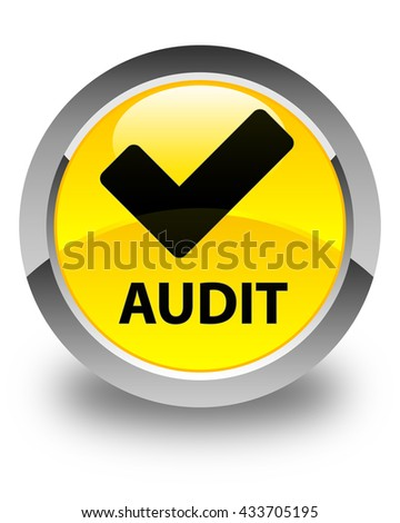 Audit (validate icon) glossy yellow round button - stock photo