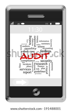 Audit Word Cloud Concept on a Touchscreen Phone with great terms such as findings, data, accounting and more.