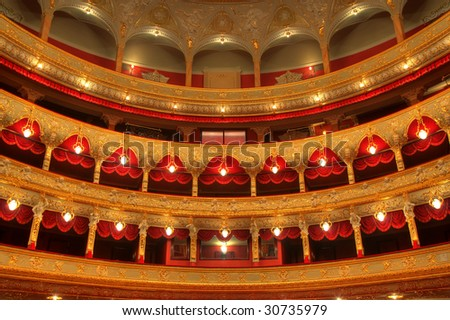 Auditorium. An interior of opera theatre. Odessa, Ukraine - stock photo