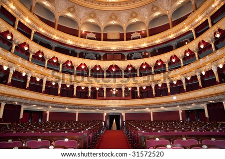 Auditorium. An interior of opera theatre. Odessa, Ukraine - stock photo