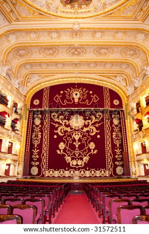Auditorium and curtain. An interior of opera theatre. Odessa, Ukraine - stock photo