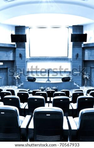 auditorium - blue tone - stock photo