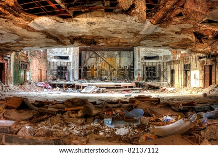 Auditorium decay. Abandoned City Methodist Church in Gary, Indiana.