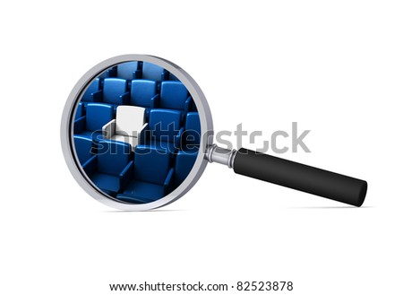 auditorium with one reserved seat in the magnifier/ 3d icon - stock photo