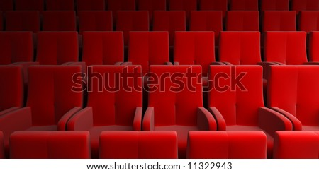 auditorium with red seats - stock photo