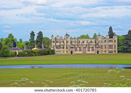 Audley End House and Pond in Essex in England. It is a medieval county house. Now it is under protection of the English Heritage. - stock photo