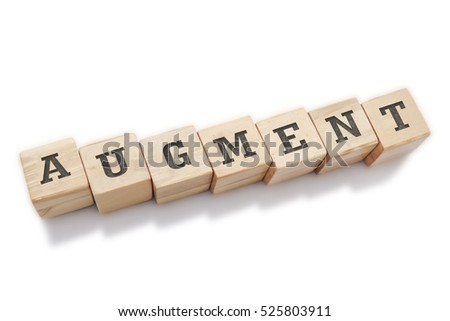 AUGMENT word made with building blocks isolated on white