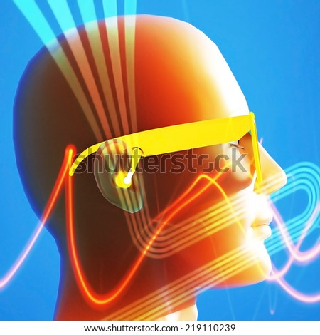 Augmented reality - Female cyborg head wearing yellow glasses - stock photo