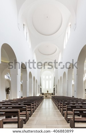 AUGSBURG, GERMANY - APR 24, 2015: British architect John Pawson's minimalist remodelling of St. Moritz church in Augsburg, Germany, includes slices of onyx over the windows to diffuse light.
