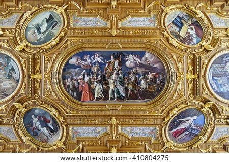 Augsburg, Germany - January 17, 2016: The Goldener Saal (Golden Hall) is a ceremonial room in the Augsburg Town Hall, which is famous for its ceiling paintings, murals, and golden wall decoration