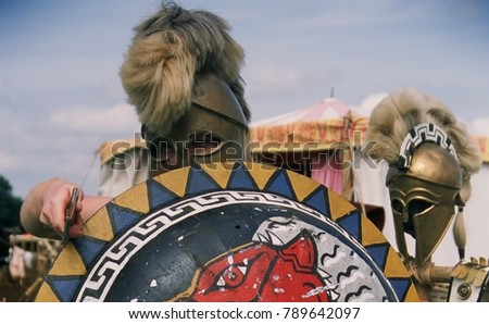 August 2017 a re-enactor of the Hoplite Association wearing a Greek Hoplite costume & August 2017 Reenactor Hoplite Association Wearing Stock Photo (Safe ...