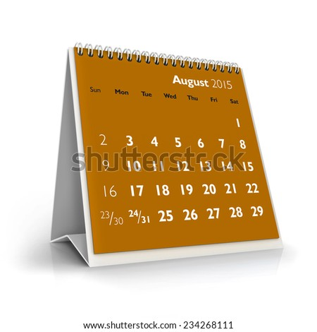 August 2015 Calendar - stock photo
