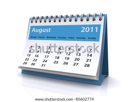 august 2011 calendar - stock photo