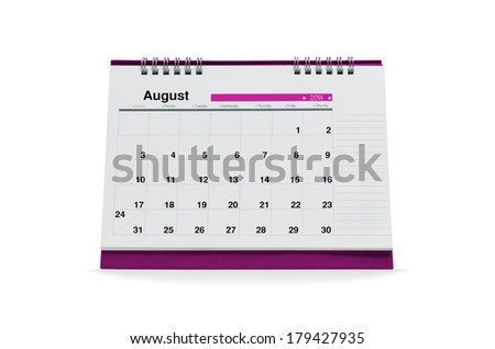 August calendar is empty Isolated on white background with clipping paths.