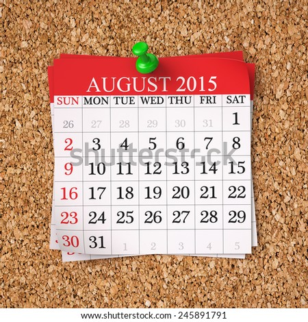 August 2015  Calendar on cork board , 3d render - stock photo