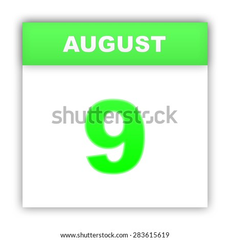 August 9. Day on the calendar. 3d - stock photo