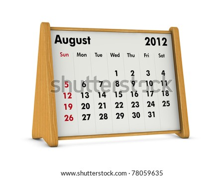 august 2012 elegant wooden calendar on white background (3d render)