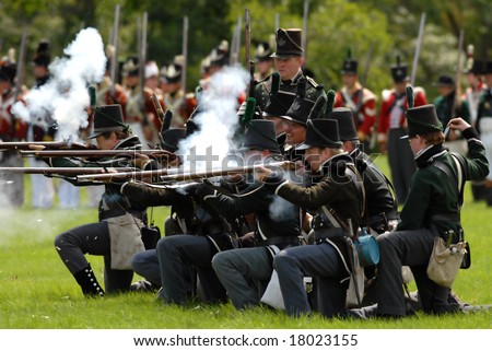 August 9/2008- Fort Erie, ON, Can.: British troops fire on the Americans during the 22nd Annual Siege of Fort Erie weekend, a War of 1812 reenactment. - stock photo