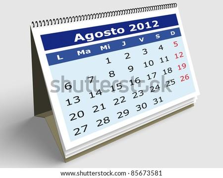August month in Spanish. 2012 Calendar. 3d render - stock photo