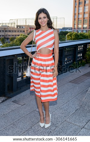 August 12, 2015 - New York, New York - Victoria Justice attends a celebrity event on New York's Highline - stock photo