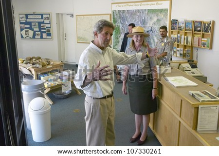AUGUST 2004 - Senator John Kerry visits Mojave National Preserve park office during a campaign stop near Death Valley in 118 degree Baker, Ca - stock photo
