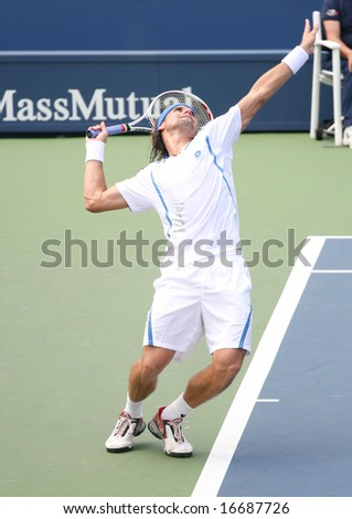 August 25, 2008 - US Open, New York: David Ferrer of Spain serving at the 2008 US Open during a first round match, defeating Martin Arguello of Argentina