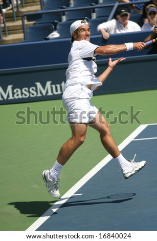 August 25, 2008 - US Open, New York: Richard Gasquet of France hitting a forehand at the 2008 US Open during a first round match - stock photo