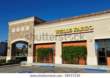 AUGUST 10: Wells Fargo Loses Ruling on Overdraft Fees August 10, 2010 in San Francisco, CA Bank branch in Simi Valley, CA - stock photo