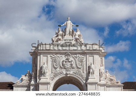 Augusta street Arch in Lisbon - Portugal - stock photo